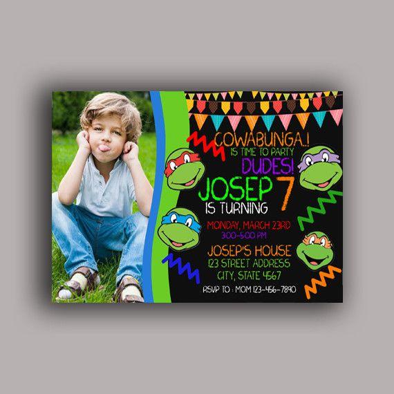 Ninja Turtle Birthday Invitation Birthday Party Card Digital Invitation With Photo