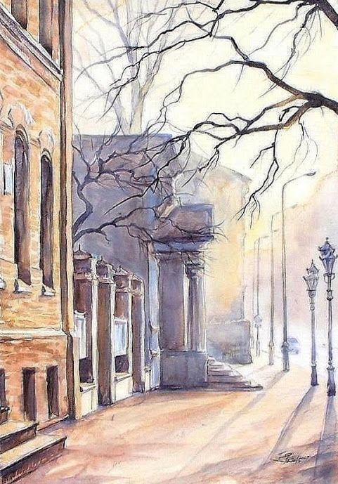 "Edyta Nadolska Watercolor Art - ""Osterwa Theater', Gorzów, Poland, 2015"