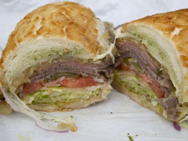 """Fire Roasted"" Sirloin Sandwich on Dutch Crunch @LittleLucca, South San Francisco"