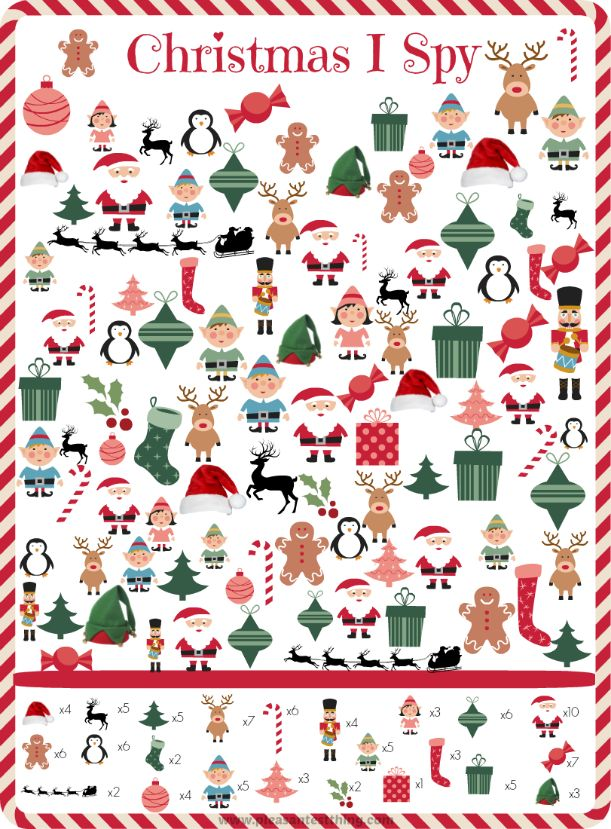 Free printable Christmas I Spy Game - a holiday themed search and find via @PleasantestThing