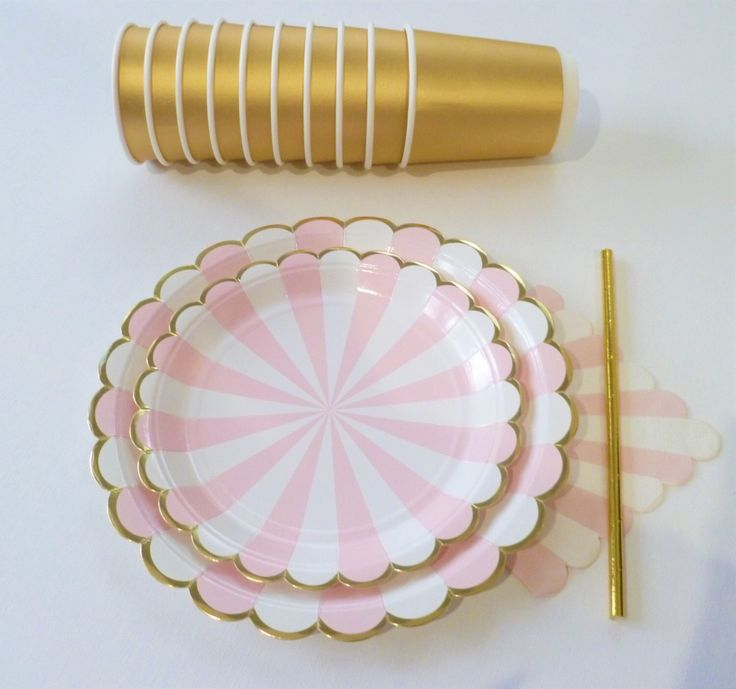 Tableware pink & gold stripe paper straws, cups, plates, napkins first birthday, Baby Shower, stripes carnival unicorn princess by DoneInYourStyle on Etsy https://www.etsy.com/listing/462126421/tableware-pink-gold-stripe-paper-straws