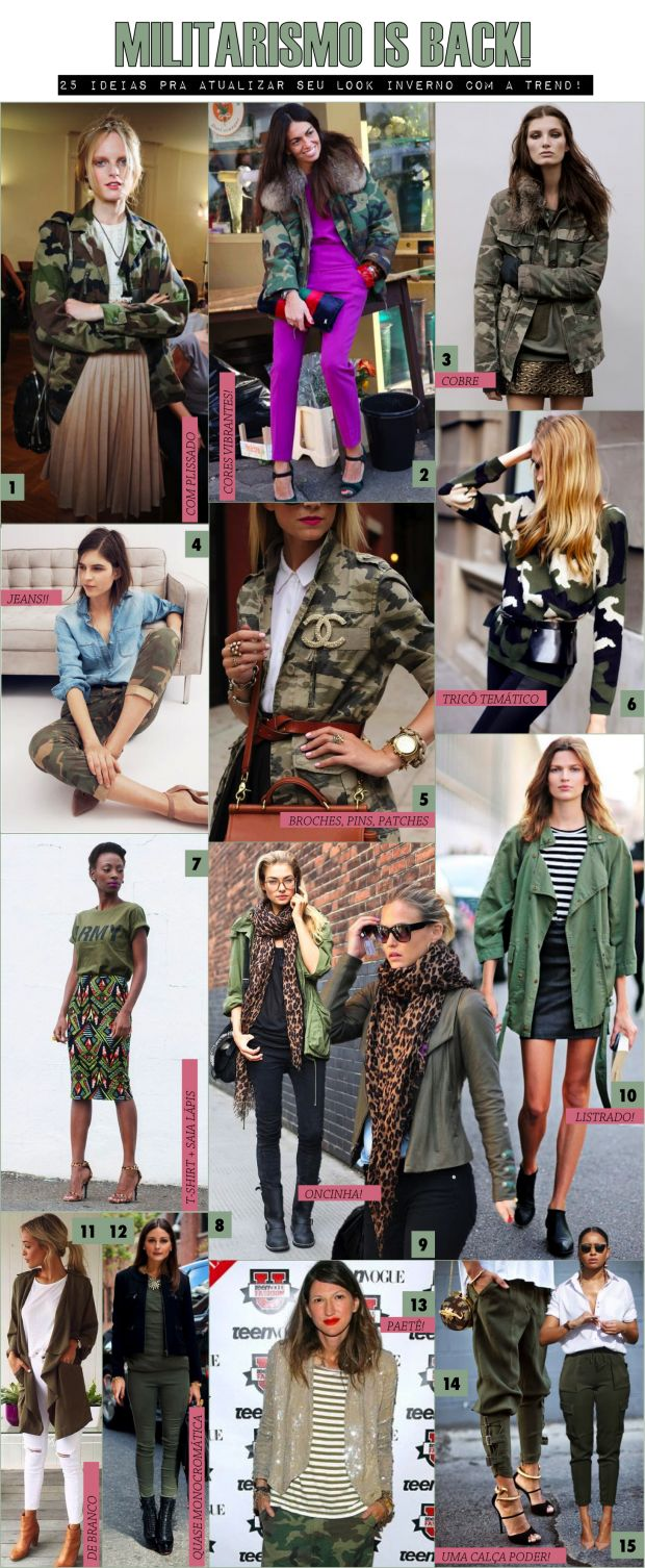 25 formas de atualizar o look inverno com a tendência militar! - Fashionismo