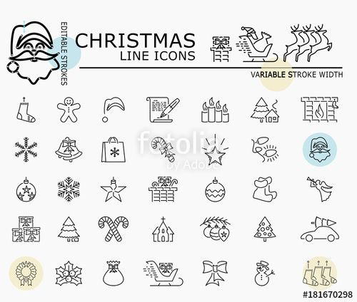 "Download the royalty-free vector ""Christmas line icons with minimal nodes and editable stroke width and style"" designed by dropix at the lowest price on Fotolia.com. Browse our cheap image bank online to find the perfect stock vector for your marketing projects!"