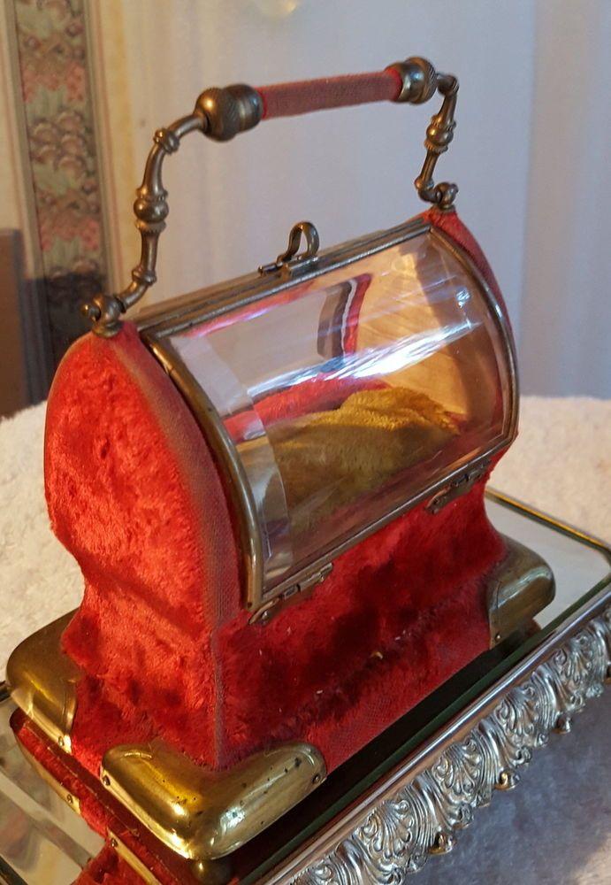 Antique Victorian Jewelry Caddy, Casket - Beveled Glass - Velvet