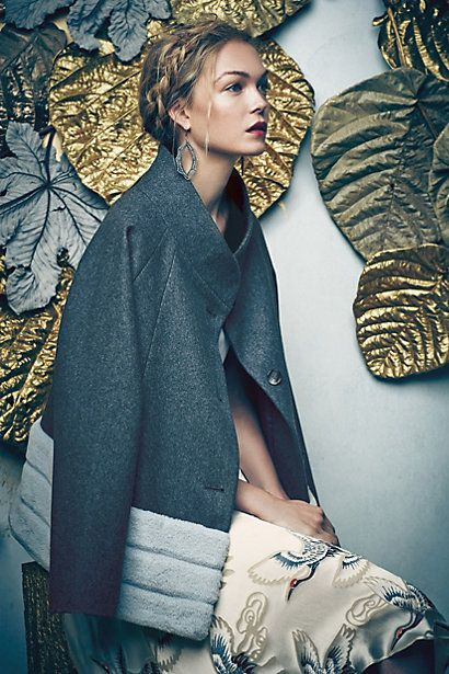 Soiree Swing Coat #anthropologie. Simple, elegant. This also comes in white.