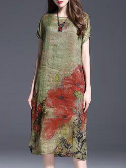 Printed Floral Short Sleeve Elegant Midi Dress
