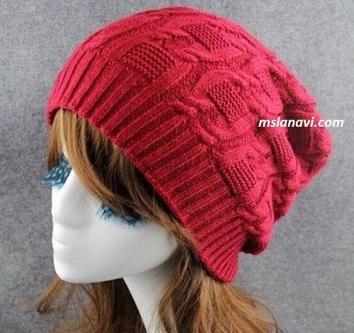 вязаная шапка бини 4