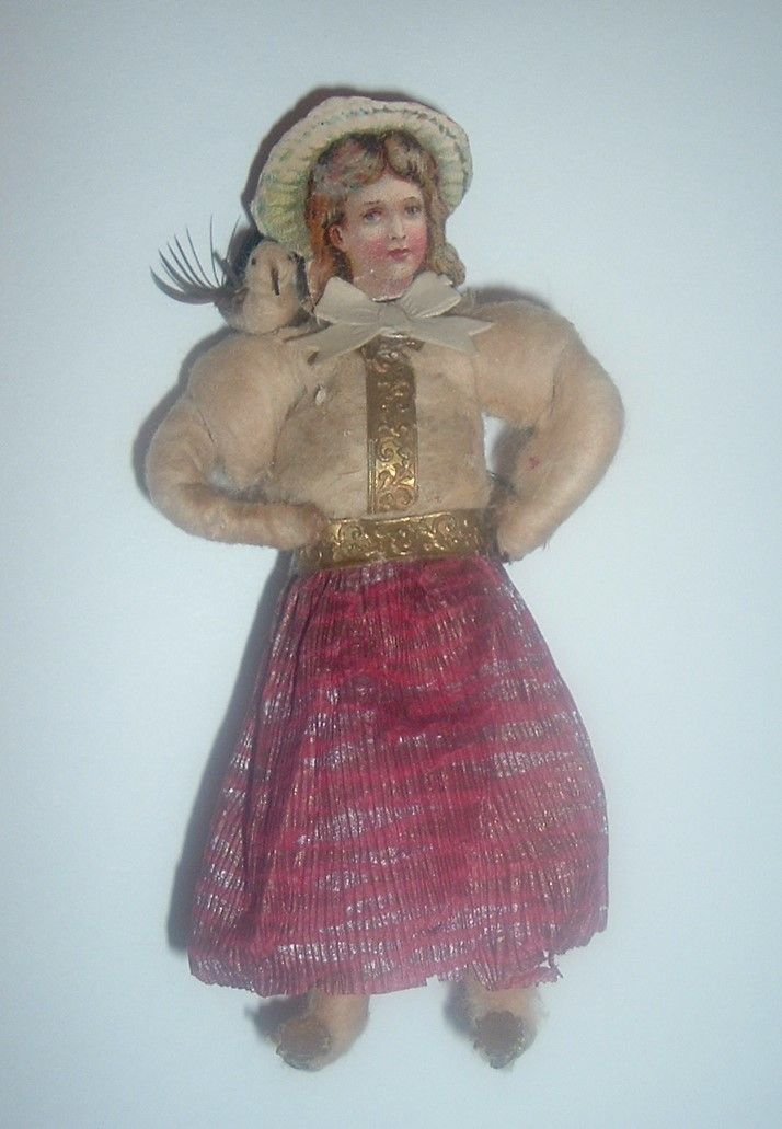 Wonderful Antique Spun Cotton Christmas Ornament...Lovely Girl With Pink Skirt & Gold Dresden Belt... AND A Bird On Her Shoulder!