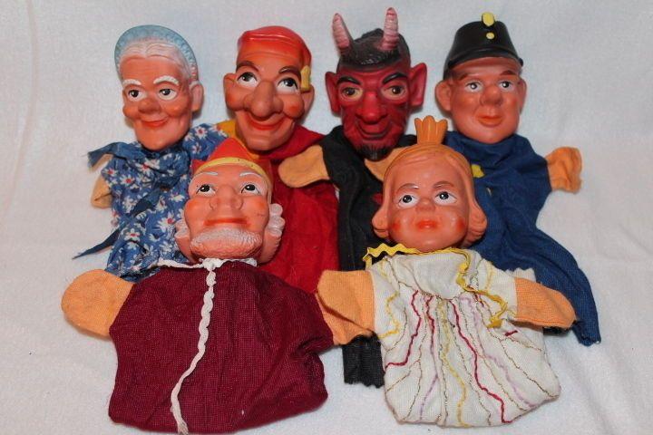 6 Poppenkastpoppen - Kasperlepuppen Handpuppen - Teufel + Prinzessin + König + Oma + Polizist - alt