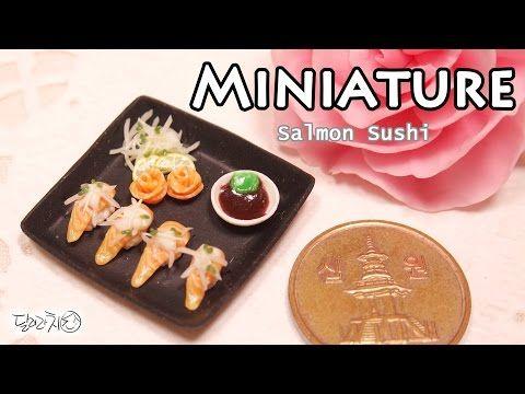 미니어쳐 연어초밥 만들기 Miniature * Salmon Sushi - YouTube