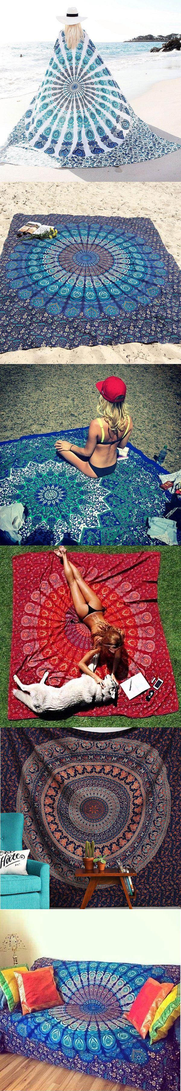 150x210cm Bohemian Style Thin Chiffon Beach Yoga Towel Mandala Rectangle Bed Sheet Tapestry