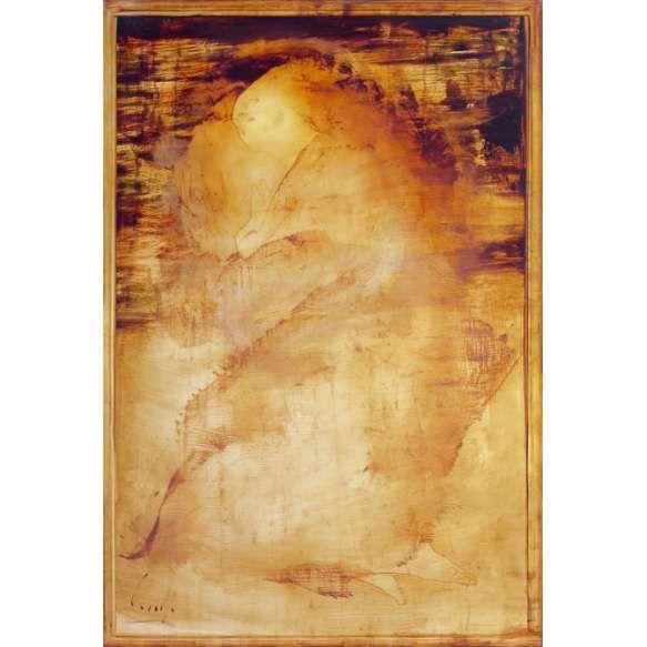 Carlos Araujo<br /> Figura em contemplação. Óleo sobre tela colada em madeira, 160x110 cm, 2009/12, A.C.I.E.