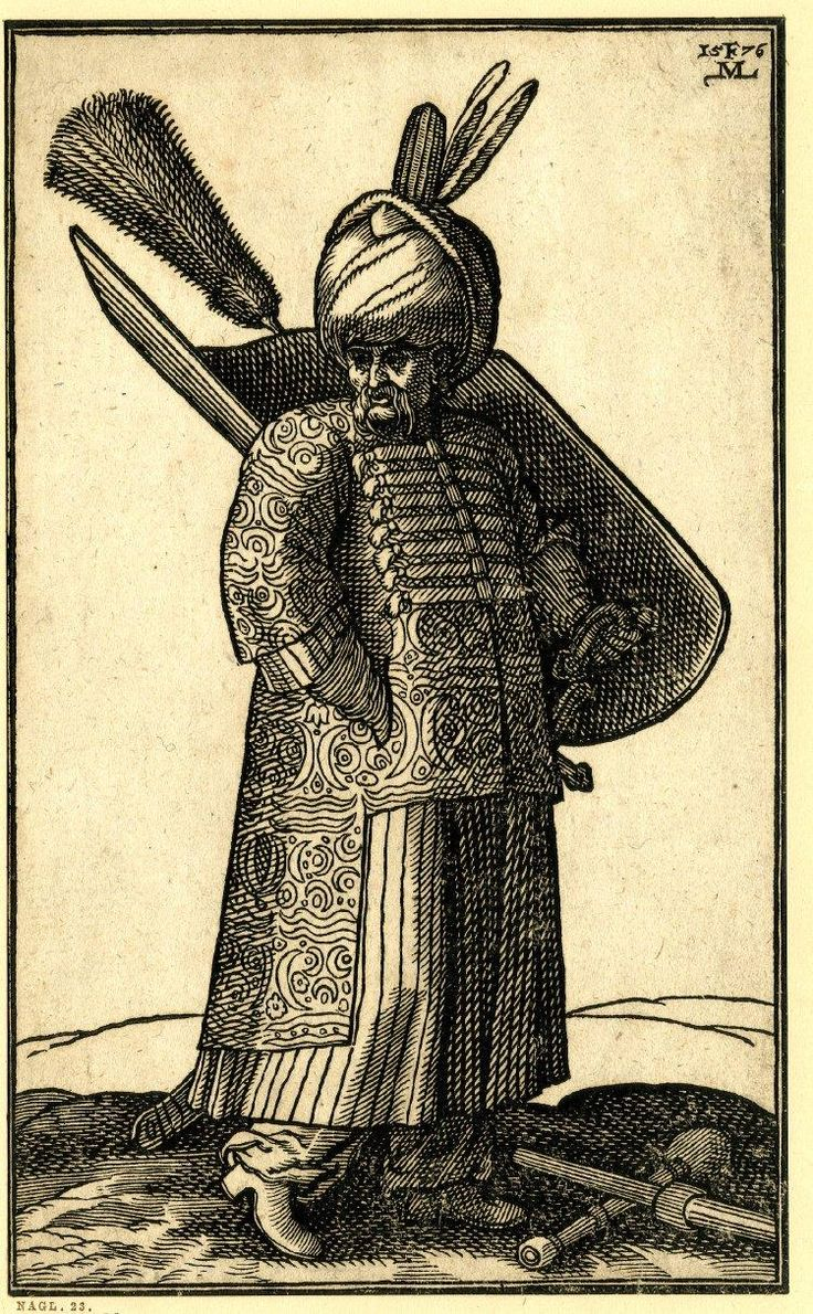 A Kurdish soldier; wearing a patterend cloak and large turban with two feathers; holding a large shield behind him in his left hand; two clubs on the ground at r; from a series of 127 woodcuts, 1576. By renaissance painter, draughtsman and printmaker Melchior Lorck.