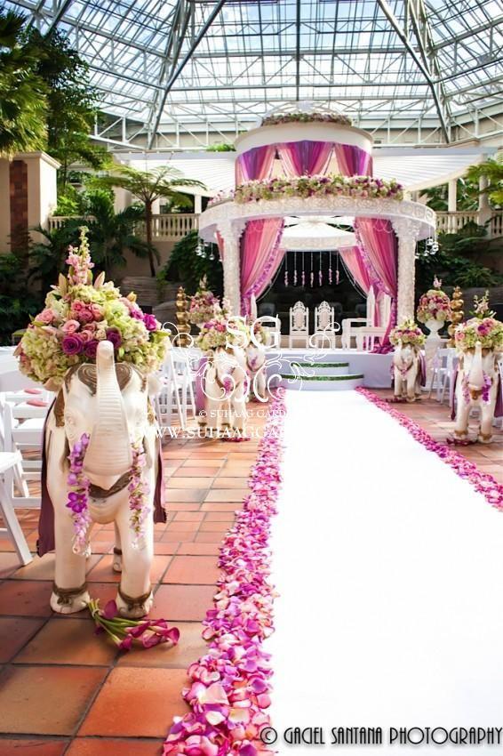 Suhaag Garden, Indian wedding decorator, Florida wedding decorator, outdoor pink Mandap, Gaylord Palms Resort & Convention Center's Emerald Plaza Atrium