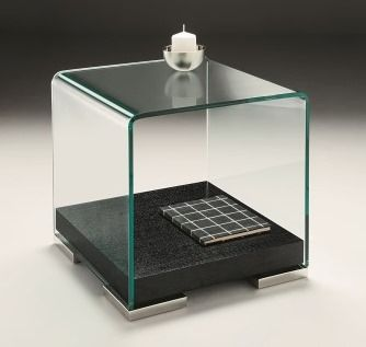 Glacier Lamp Table - Temepered 12mm thich curved clear glass rest on a dark oak veneered underframe