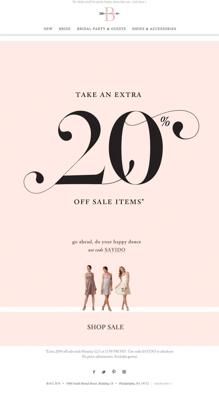 "BHLDN Cyber Monday email - Dec. 1, 2014 - ""BEST MONDAY EVER?!‏"""