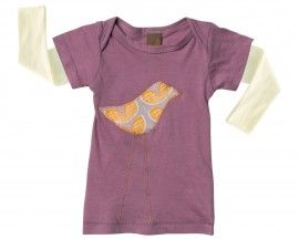 Zebi Baby Long Sleeve Tee Purple Bird - 100% organic cotton