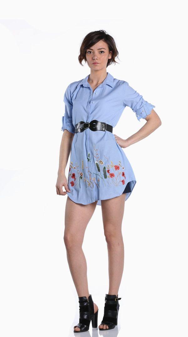 Mavi Renk Cicekli Gomlek 118167 Kapida Odemeli Ucuz Bayan Giyim Alisveris Sitesi Modivera Moda Stilleri Tunik Giyim