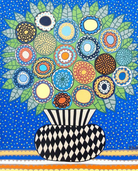 Kerri Ambrosino Art tapisserie Art populaire mexicain oranger fleurs Vase bleu Cafe