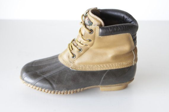 DUCK boots men's size 9 SOREL style caramel leather by ZiaVintage, $45.00