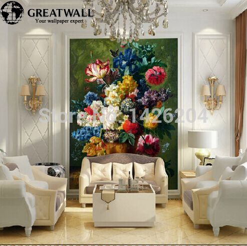 Great wall 3D romantic large mural custom European painting flowers,3d wallpapers for wall flowers,3d wall murals wallpaper