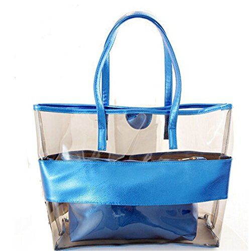 New Trending Make Up Bags: FANCY LOVE Waterprof Semi-clear Tote Stripe Beach Shoulder Bag (Blue). FANCY LOVE Waterprof Semi-clear Tote Stripe Beach Shoulder Bag (Blue)  Special Offer: $15.99  277 Reviews [FANCY LOVE Friendly Tips]: 1.100% made by high quality PVC 2. This bag have three styles: colorful rainbow,colorful dots and colorful with America flag. 3. Please allow 1-2cm...