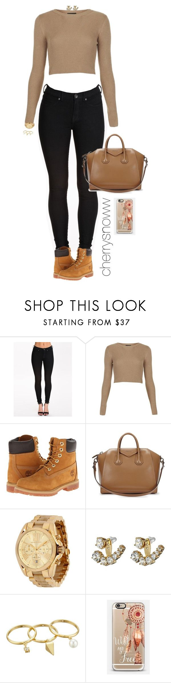 """""""Black and beige casual chic swag fall outfit"""" by cherrysnoww ❤ liked on Polyvore featuring Dr. Denim, Topshop, Timberland, Givenchy, Michael Kors, Kate Spade, Rebecca Minkoff and Casetify"""
