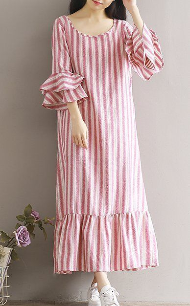 Women loose fitting over plus size stripes dress long maxi tunic robe casual
