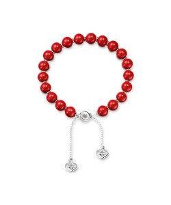 Bracciale con perle di legno rosse e finiture in argento, sitle rosario buddhista by Gucci