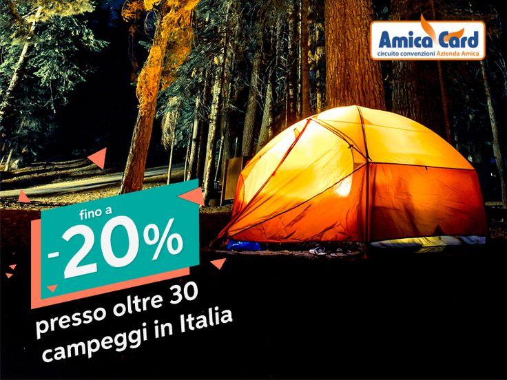 CAMPEGGI, IN GIRO PER L'#ITALIA CON GLI SCONTI AMICA CARD! Molte persone vivono tutta la loro vita senza aver mai dormito sotto le stelle, non sognare questo momento! Oltre 30 campeggi in tutta Italia applicano sconti dal 5% al 20% su soggiorni all'insegna del relax, cosa aspetti? Cerca il campeggio e contattalo direttamente dal sito AmicaCard.it per richiedere disponibilità e costi! #campeggi #vacanze #relax #benessere #natura #amicacard #convenzioni #sconti #risparmio