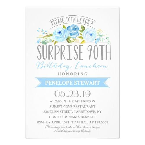 Surprise Birthday Invitations Rose Banner Surprise 90th Birthday Luncheon Card