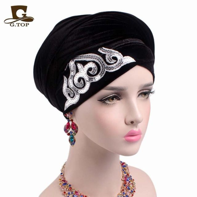 Fair price 2017 new fashion women gorgeous Embellished sequined Velvet Turban Long Head Wraps women luxury Hijab head scarf turbante just only $12.80 with free shipping worldwide  #babygirlsclothing Plese click on picture to see our special price for you
