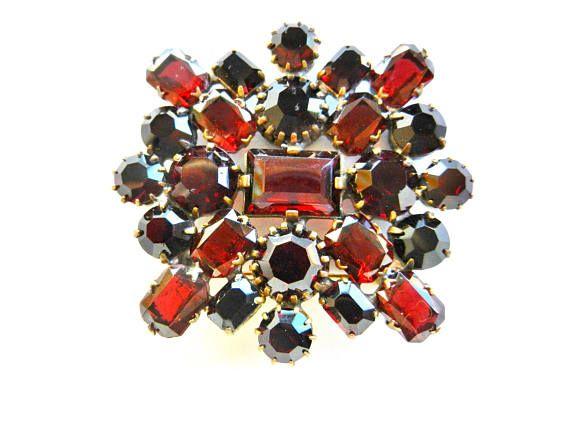 Gorgeous CZECH Vintage Garnet Glass Brooch Sparkling