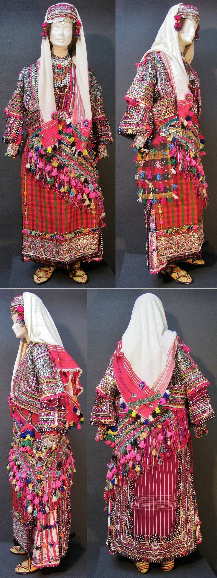 A traditional festive costume from Pomak villages near Biga (Çanakkale prov.), mid-20th c. This is the way a betrothed girl ('nişanlı kız') would wear the costume. Characteristics: 1) the tip of the 'arkalık kuşak' (triangular waist cloth) is worn on the hip; 2) the hat & imitation hair (black cotton plaits, attached to back of the hat) are covered by the headscarf. (Kavak Costume Collection - Antwerpen/Belgium).