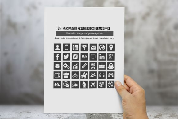 35 resume icons for ms office by inkpower on creative market