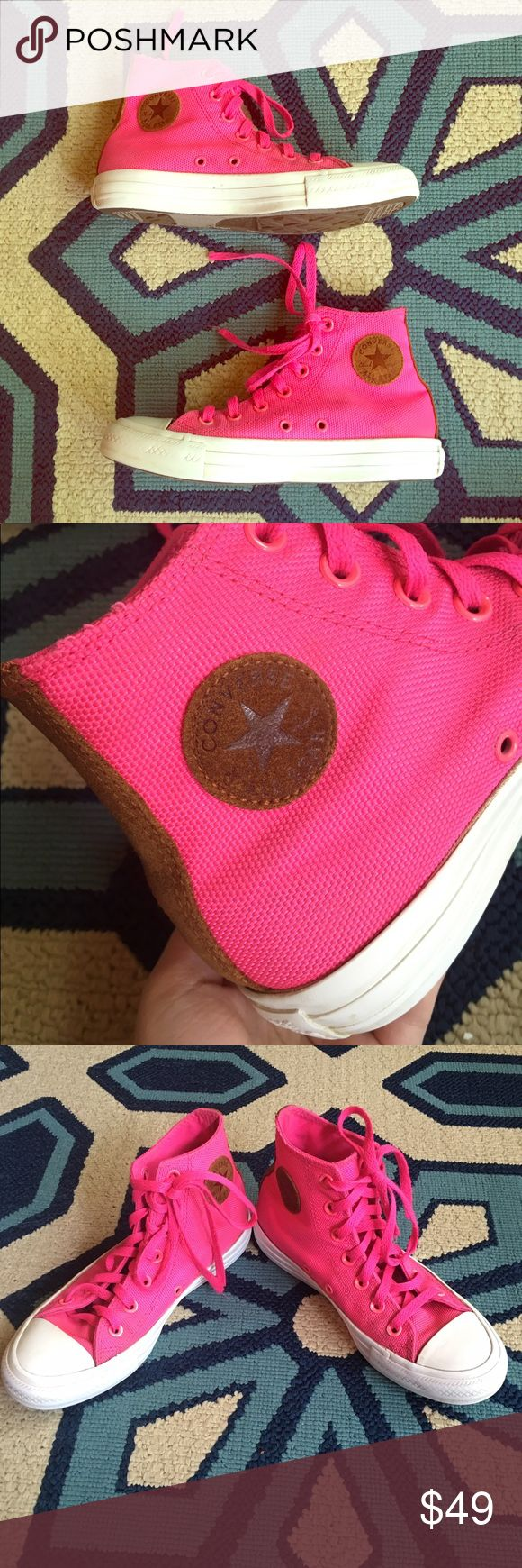 HOT PINK CONVERSE 🎀 Hot hot pink canvas Converse high tops. Hard to find! Brown suede canvas logo & back strip. In Great used condition. 😍🎀💕🎉 men's size 4, women's size 6. Converse Shoes Sneakers