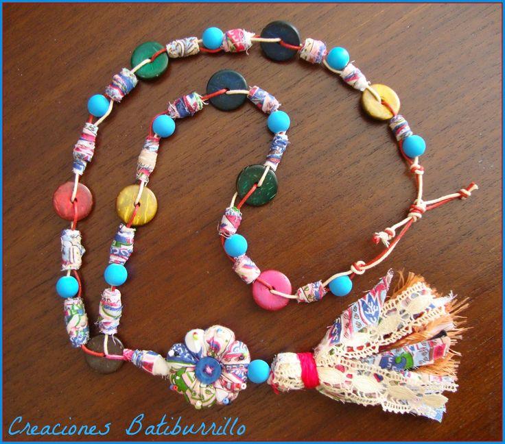 C mo fabricar cuentas de tela collar indio recycle - Manualidades faciles con tela ...