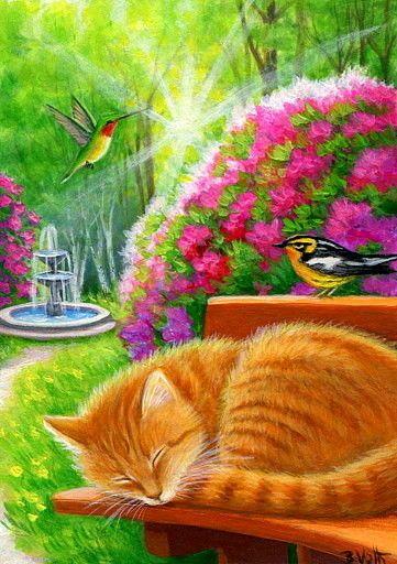 ACEO original ginger cat birds garden flowers spring landscape painting art    eBay