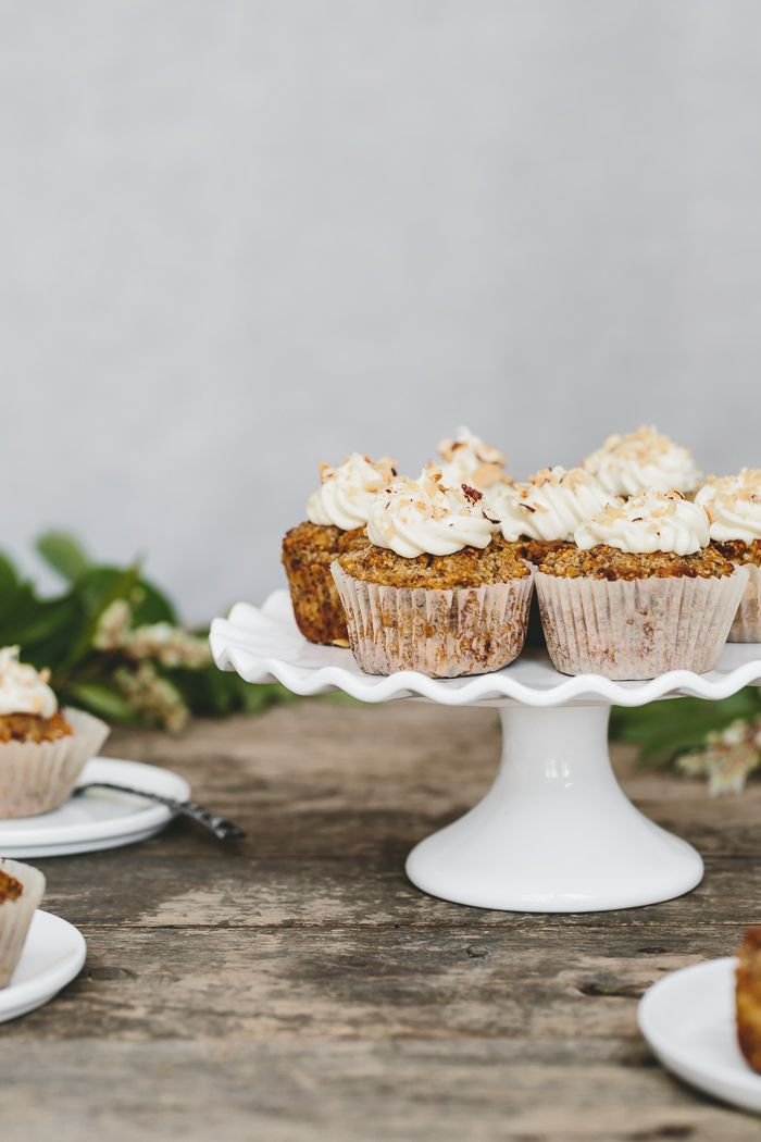 Maple Sweetened Carrot Coconut Cupcakes