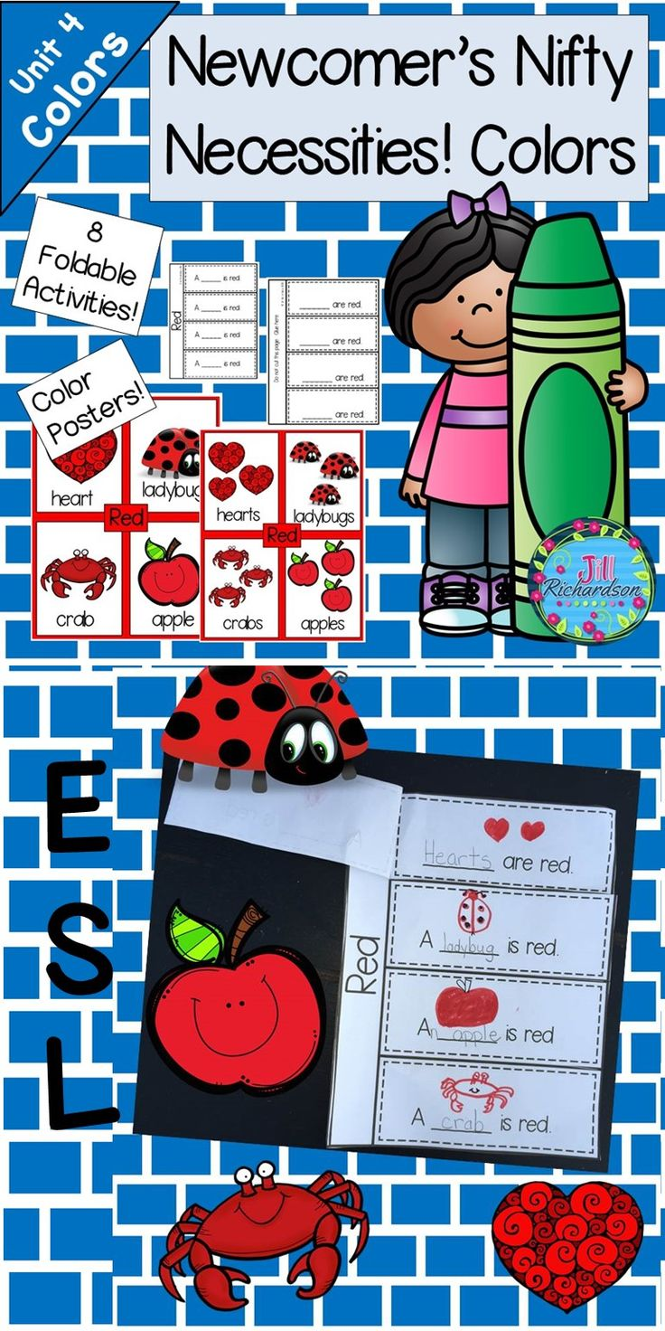 ESL Beginners Colors Resource: This ESL activity is to help our new ELL's learn color names in English as well as simple singular and plural sentence structures. There are 16 posters that the children can use to make 8 Flap Books for 8 colors.  Detailed Lesson Plans are included based on WIDA standards.  This is Unit 4 in a 5 unit curriculum to help your new English Language Learners. It is based on WIDA and Common Core Standards.