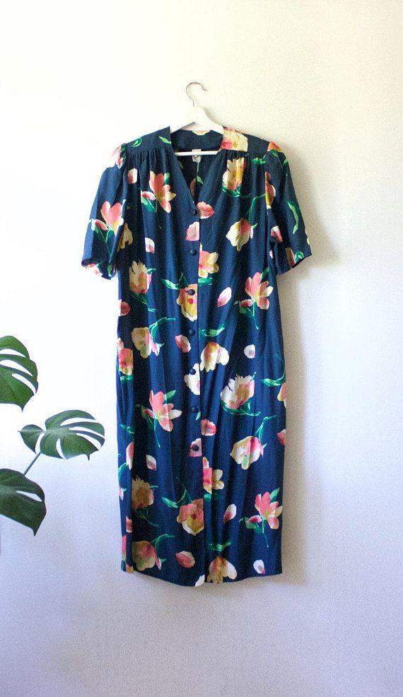 3d05f3bbd Vintage Floral Teal Blue Midi Button Up Summer Dress // Short Sleeve ...