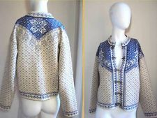 NORLENDER NORWEIGAN DREAMY CLASSIC NORDIC THICK KNIT SWEATER CARDIGAN JACKET M