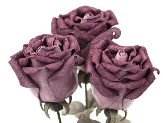 Lilac purple leather rose bud bouquet Wedding third Anniversary Gift Long Stem leather Flower Valentine's Day 3rd Leather Anniversary