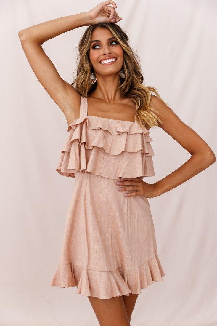 Lucille Tiered Ruffle A Line Dress Mocha A Line Dress Fashion Dresses [ 1100 x 733 Pixel ]