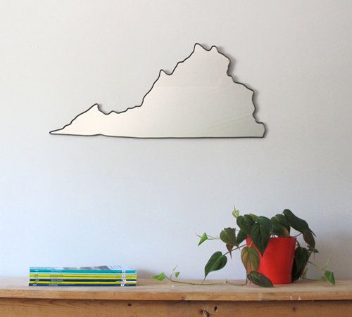 Aww Virginia... (via designsponge)Wall Art, Gardens Architecture, Sweets Virginia, Wall Mirrors, Virginia Mirrors, A Frames, States Outline, Mirrors Large, Mirrors Mirrors