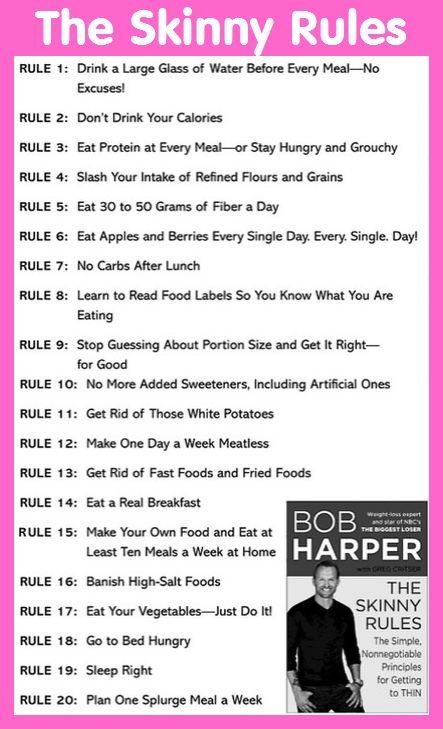 Here are rules 1 to 20 of The Skinny Rules by Bob Harper - From Bob Harper's The Skinny Rules: The Simple, Nonnegotiable Principles for Getting to Thin.