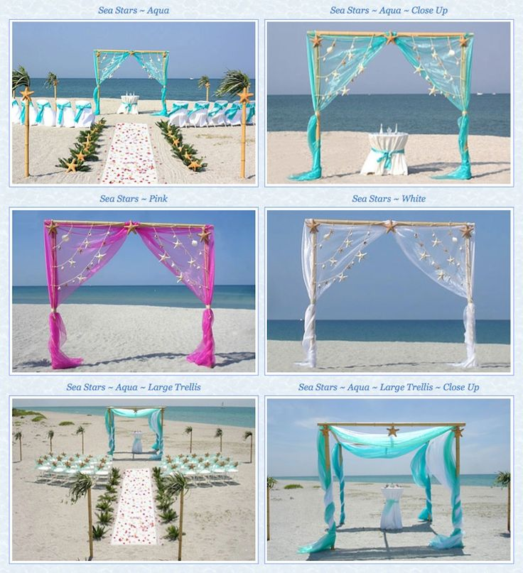 I love the one in the bottom right.   Sea Stars Starfish Beach Wedding Package Wedding Ceremony Decor