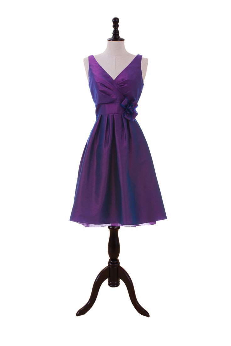 V-Neck Taffeta Dress With Pretty Hand Made Flower In The Waist