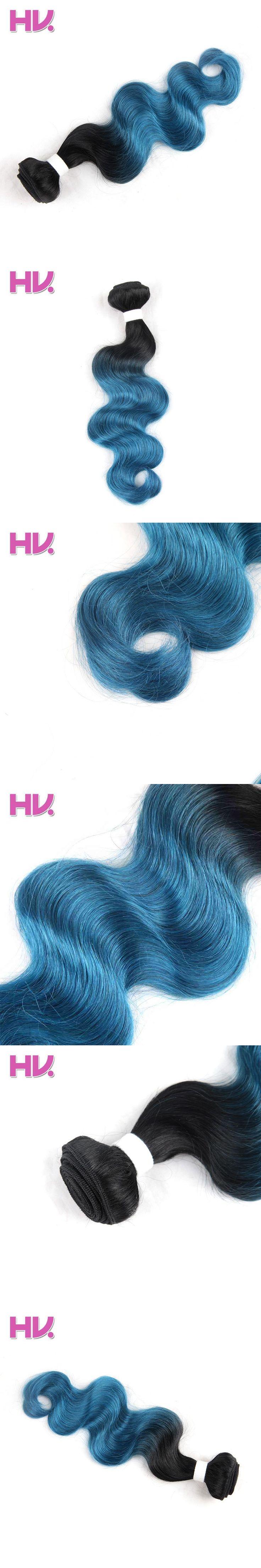 Hair Villa Pre-colored Human Hair Weave Brazilian Body Wave Hair Extensions OT Ice Blue 10-18 inch Non-Remy Hair Bundles