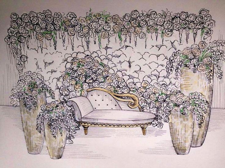 Sketch fo gatsby style wedding